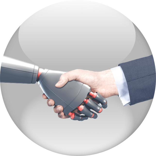 a robot hand and a human hand shaking