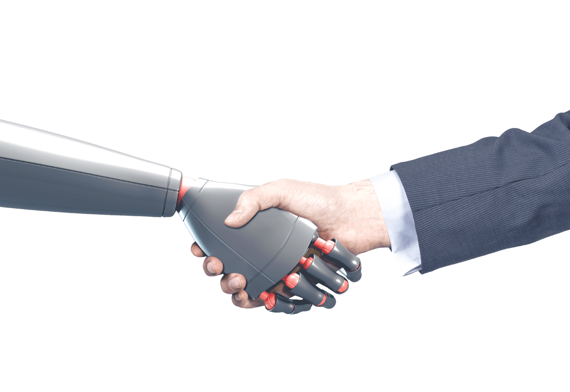 robot and human hand